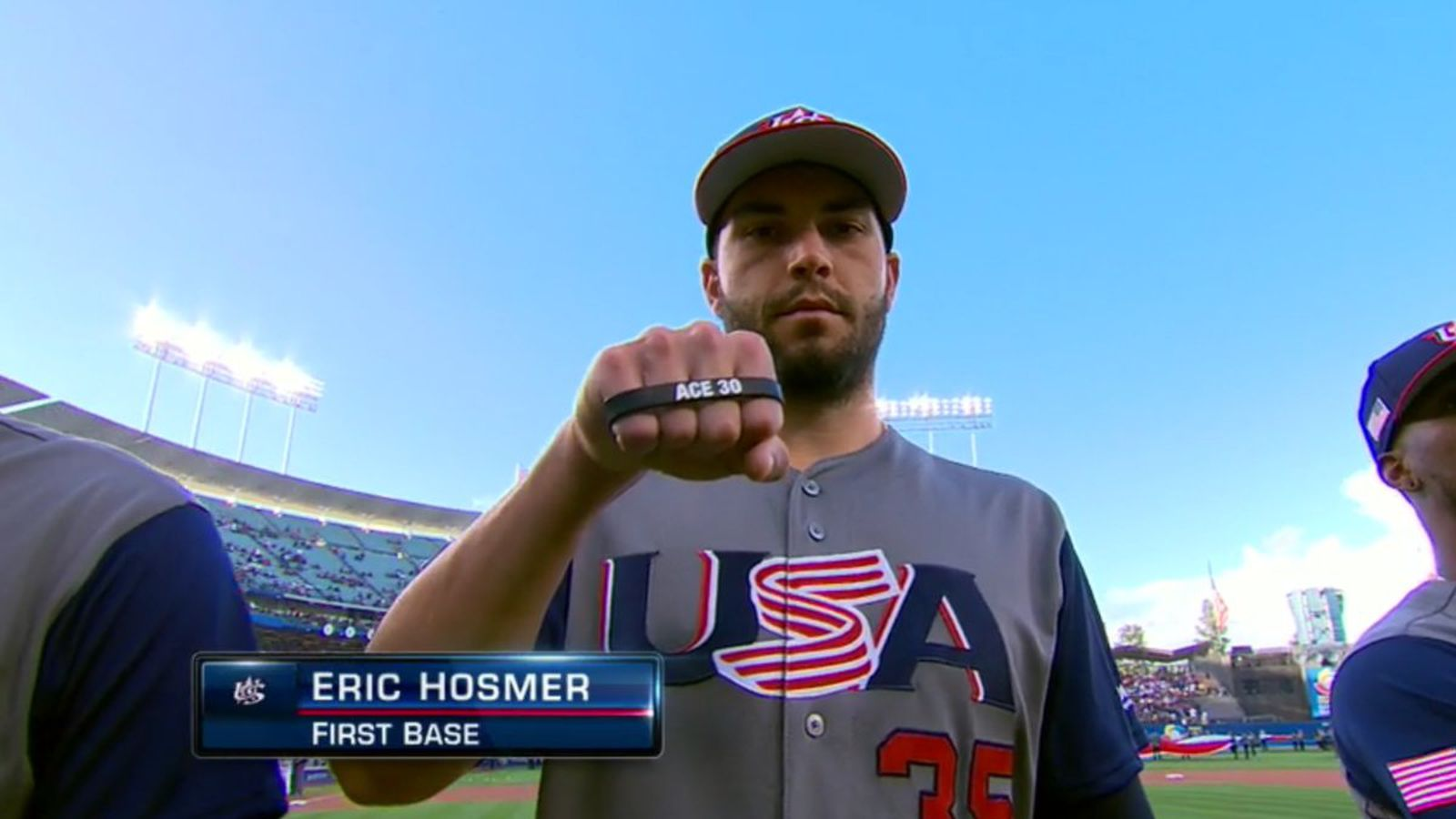 Eric Hosmer With The Yordano Ventura Tribute For WBC
