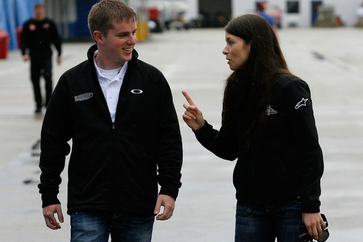 Justin Allgaier (left) finished second and Danica Patrick fourth in the Sam's Town 300 NASCAR Nationwide Series race at Las Vegas Motor Speedway.