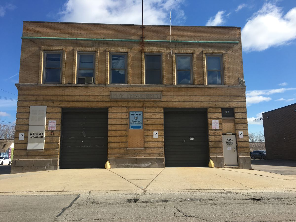 The firehouse was used as the 45th Ward office for the Department of Streets and Sanitation until 2012, when it was boarded up. | Heather Cherone/For the Sun-Times