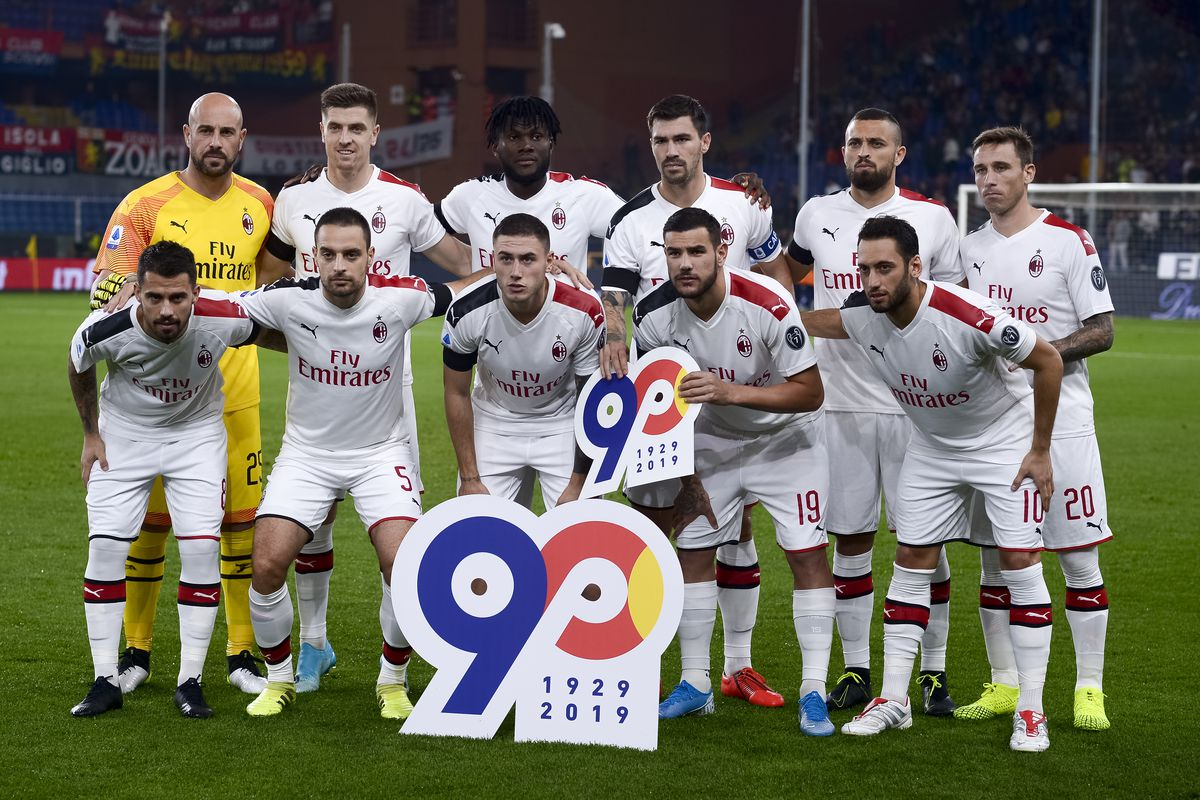 Players of AC Milan pose for a team photo prior to the Serie...