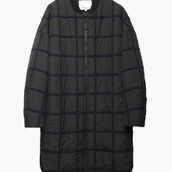 "3.1 Phillip Lim oversized grid long bomber jacket, <a href=""http://www.31philliplim.com/shop/womens/outerwear/oversized-grid-long-bomber-coat-angora"">$995</a>"