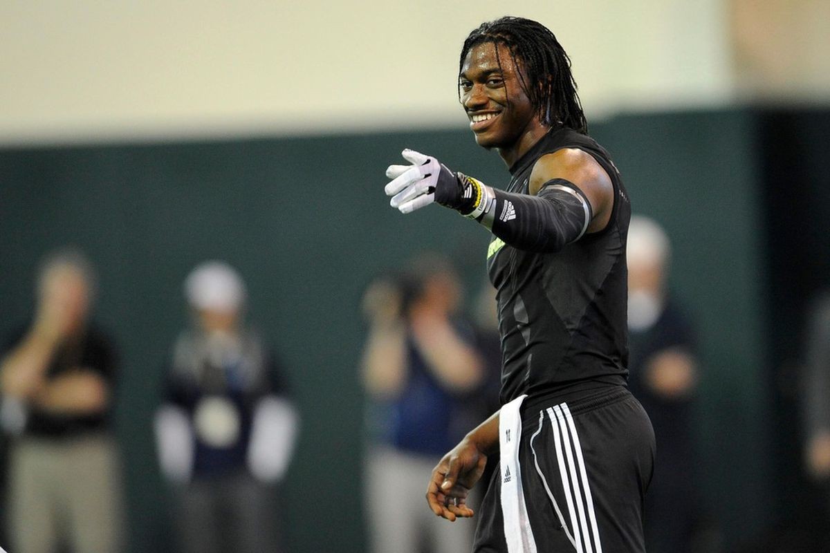 Mar 21, 2011; Waco, TX, USA; Baylor Bears quarterback Robert Griffin III (10) waves to the crowd during the Baylor pro day at the Allison Indoor Facility. Mandatory Credit: Jerome Miron-US PRESSWIRE
