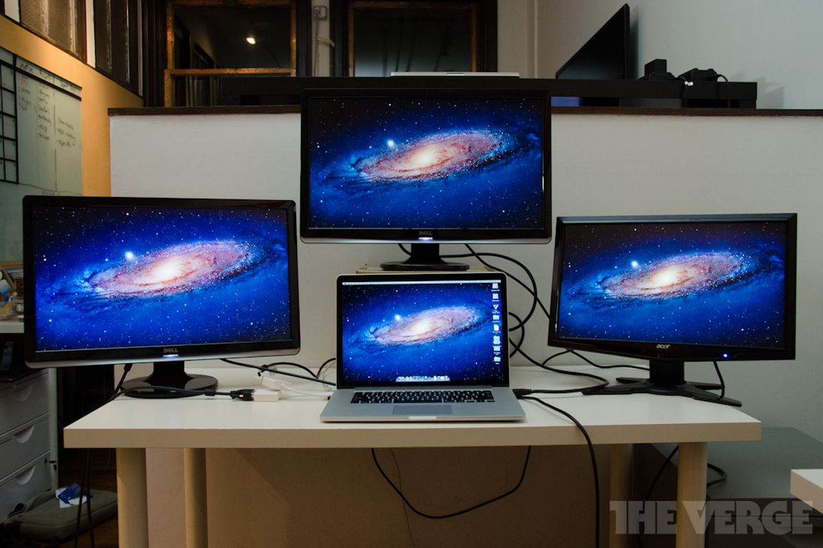 macbook pro with retina display can drive four screens. Black Bedroom Furniture Sets. Home Design Ideas