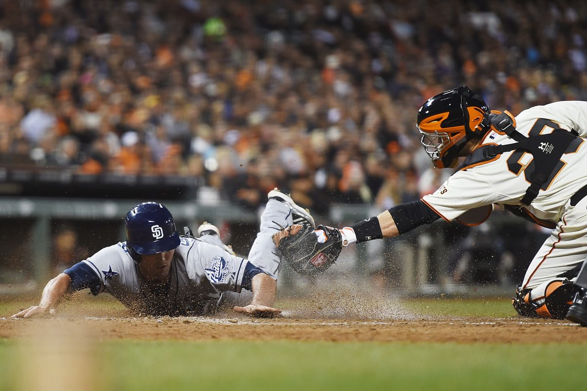 Jake manages to Goebbert into home past the Posey tag.