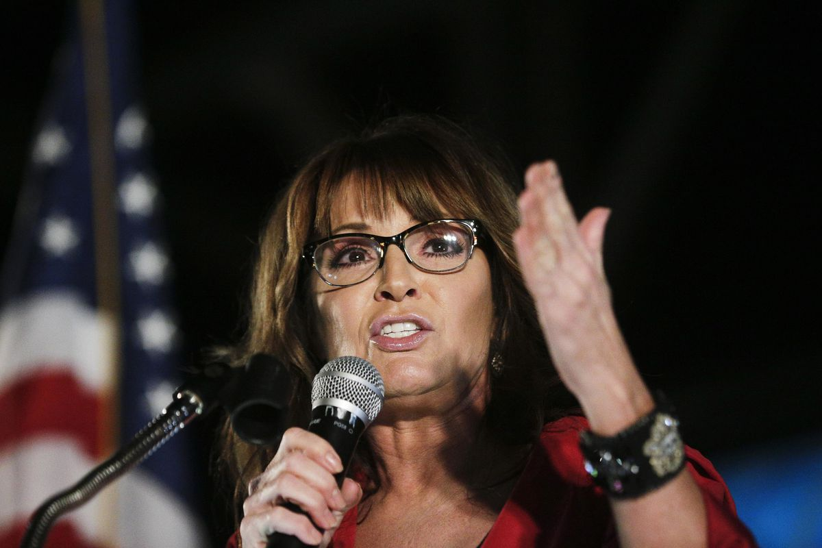 Former vice presidential candidate Sarah Palin speaks at a rally in Montgomery, Alabama, in 2017.