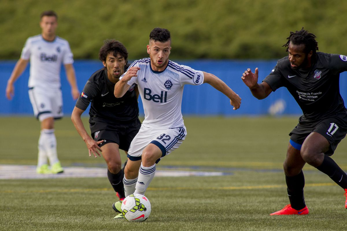 WFC2 midfielder Marco Bustos (#32) scored his second goal of the USL season against the Colorado Springs Swtichbacks FC on July 15th at UBC Thunderbird Stadium.  WFC2 and the Swtichbacks played to a two-all draw.