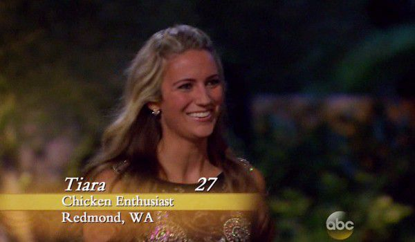 """Tiara, an apparent """"chicken enthusiast,"""" makes her entrance to season 20 of The Bachelor."""