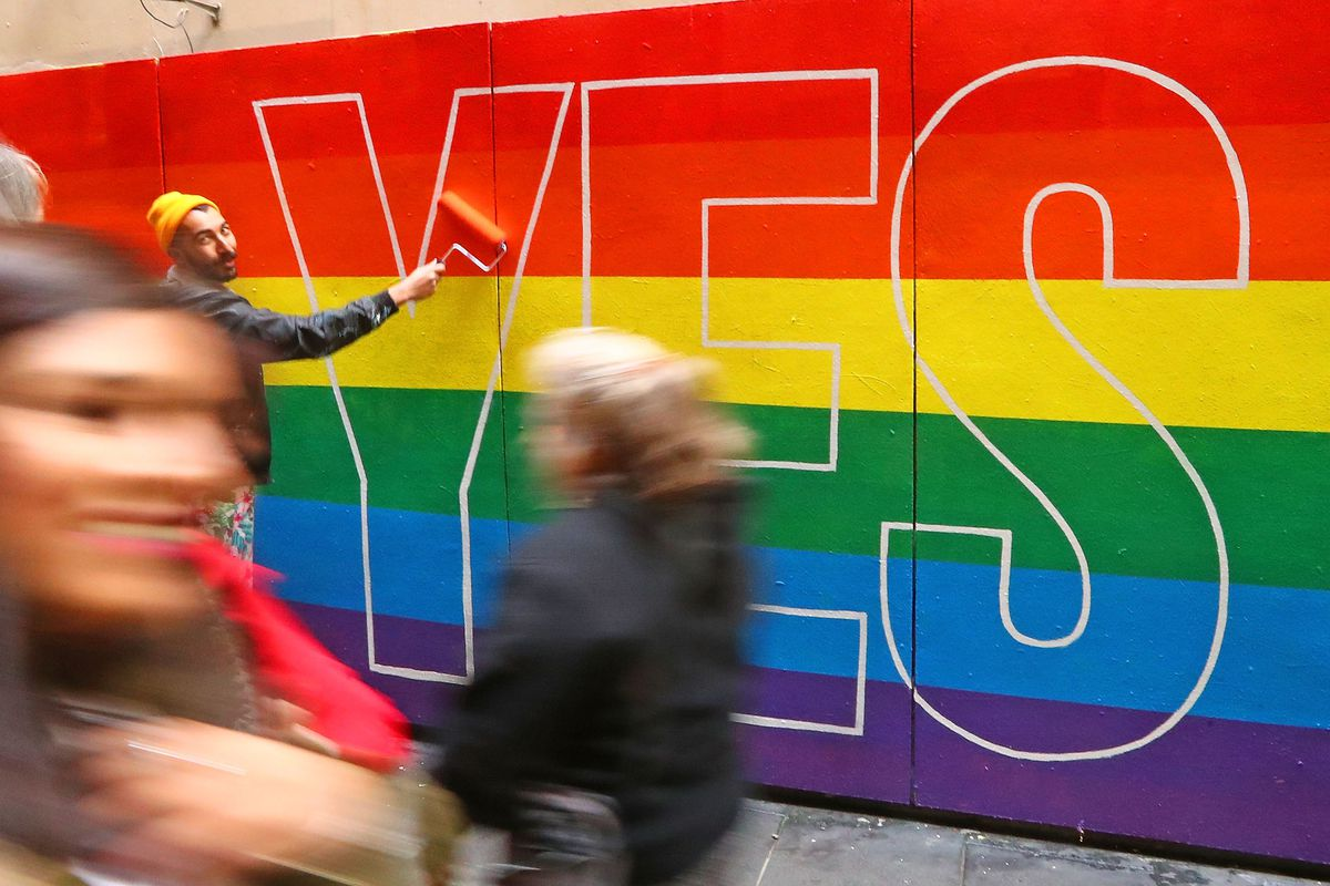 Street Artists Paint Rainbows In Melbourne In Support Of Marriage Equality