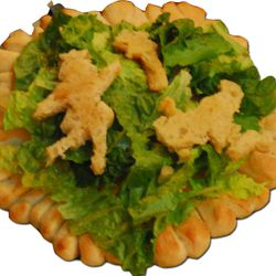 """""""Seize Her Salad"""" with fairy tale croutons on a bread charger."""