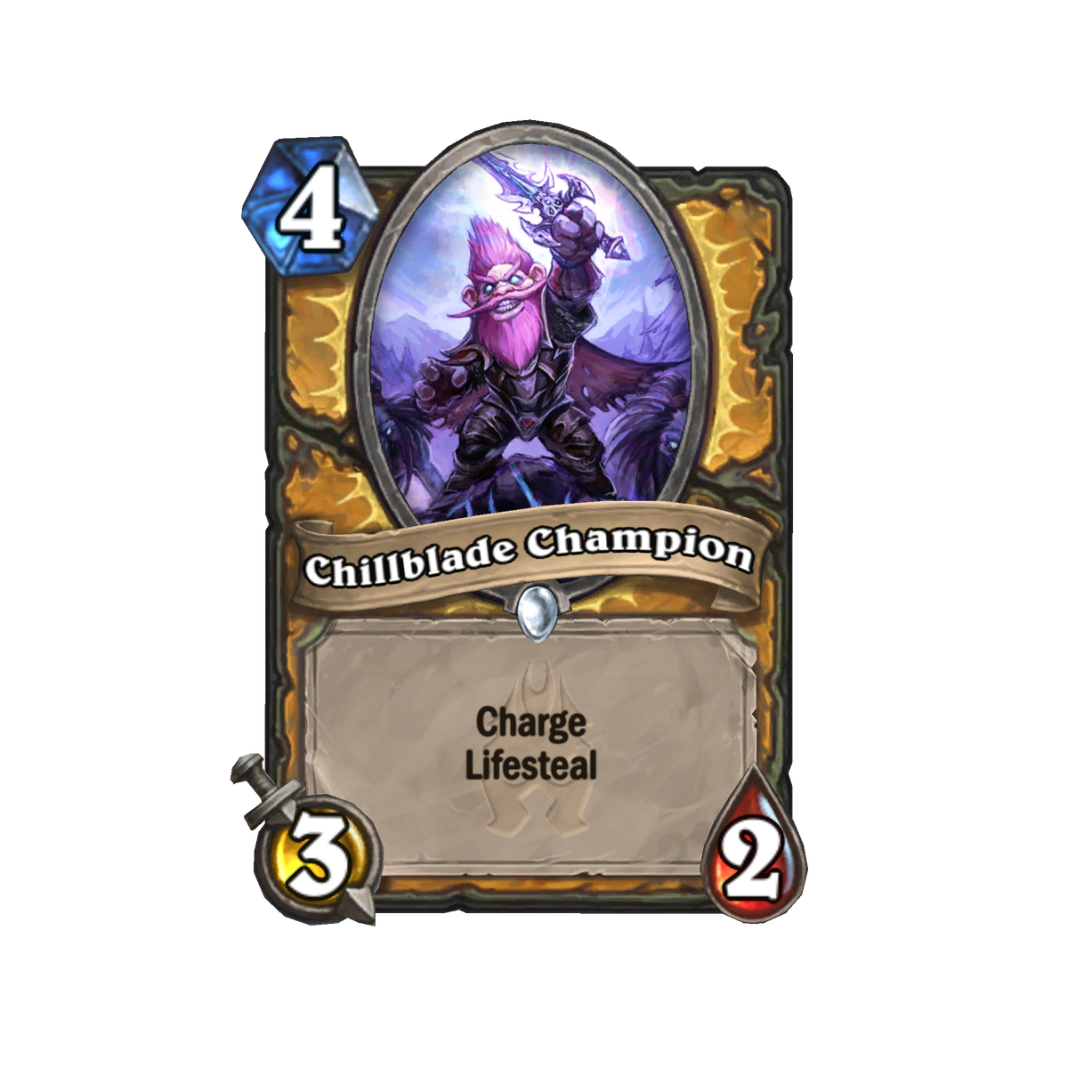 This Hearthstone card is named Chillblade Champion. It is a four-cost card with three damage and two health, and it has the keywords charge and lifesteal. Its card art depicts a heavily armored gnome with pink hair holding up a sword as if charging forwar