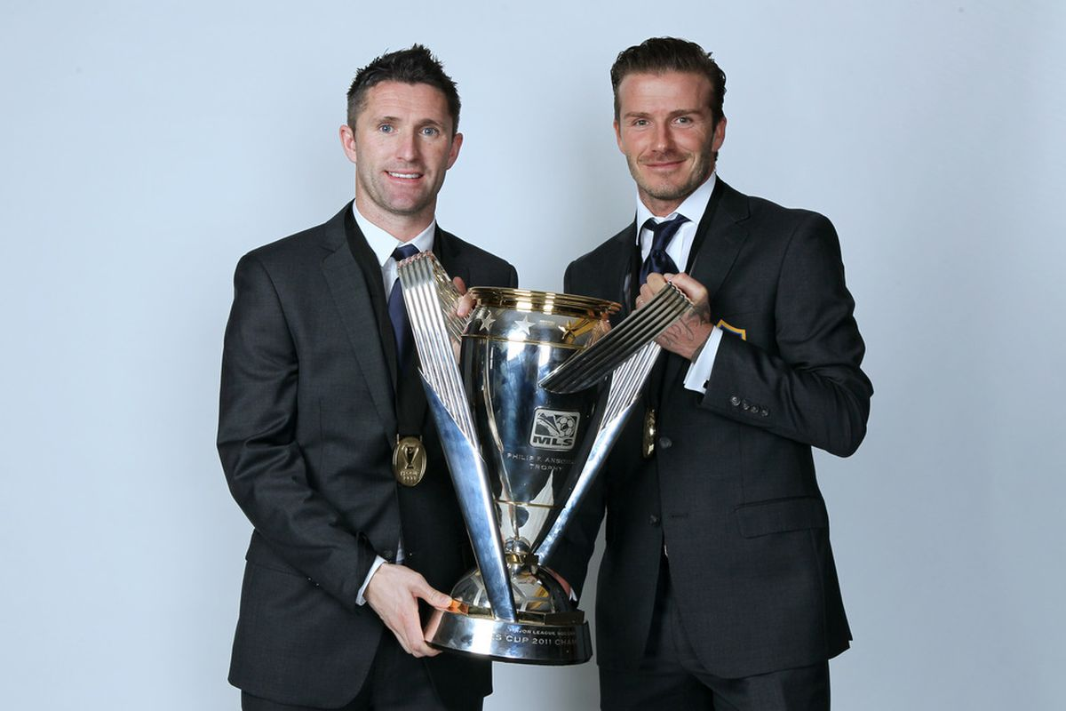 CARSON, CA - NOVEMBER 20:  (L-R) Robbie Keane #14 and David Beckham #23 of the Los Angeles Galaxy pose for a portrait following the 2011 MLS Cup at The Home Depot Center on November 20, 2011 in Carson, California.  (Photo by Jeff Gross/Getty Images)
