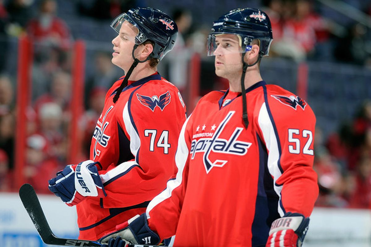 WASHINGTON DC - FEBRUARY 12:  John Carlson #74 and Mike Green #52 of the Washington Capitals warm up before the game against the Los Angeles Kings at the Verizon Center on February 12 2011 in Washington DC.  (Photo by Greg Fiume/Getty Images)