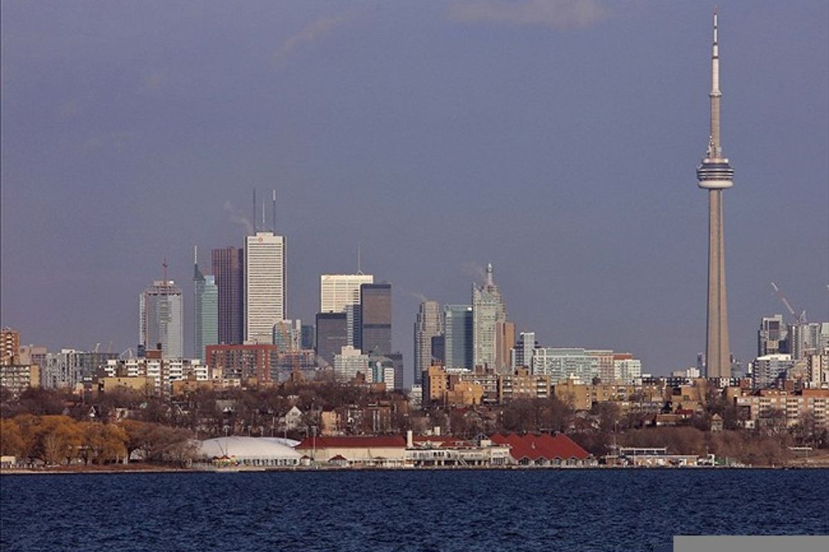 Feb 28, 2012; Toronto, ON, Canada; A view of the Toronto skyline before the Florida Panthers game against the Toronto Maple Leafs at the Air Canada Centre. Mandatory Credit: Tom Szczerbowski-US PRESSWIRE