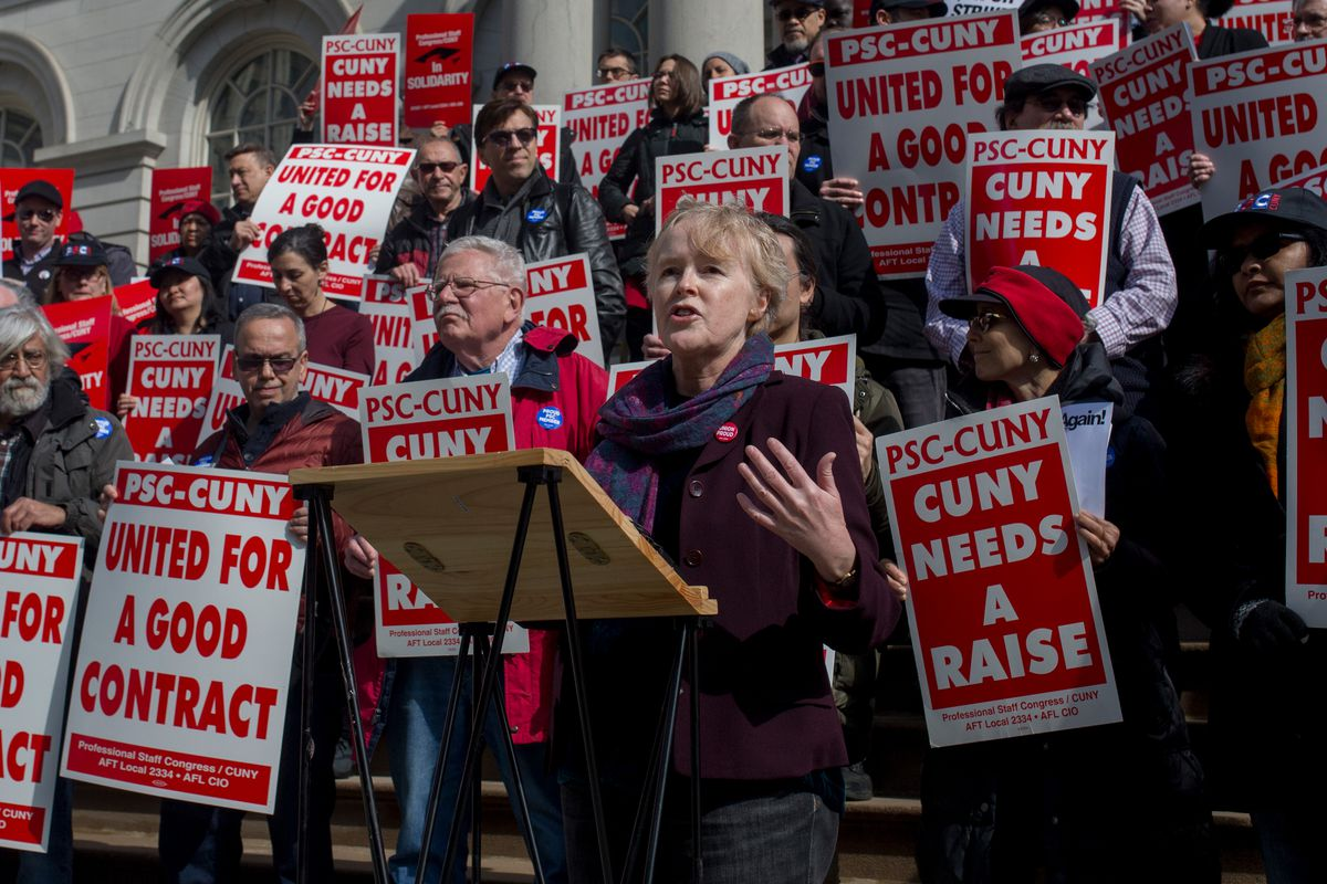 CUNY Professional Staff Congress President Barbara Bowen speaks at a press conference at City Hall, March 4, 2019.