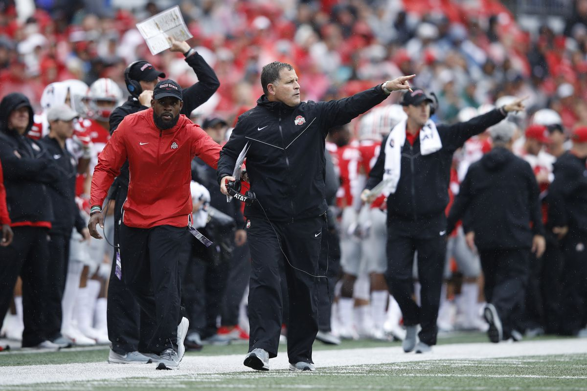 Defensive coordinator Greg Schiano of the Ohio State Buckeyes reacts during the game against the Rutgers Scarlet Knights at Ohio Stadium on September 8, 2018 in Columbus, Ohio.