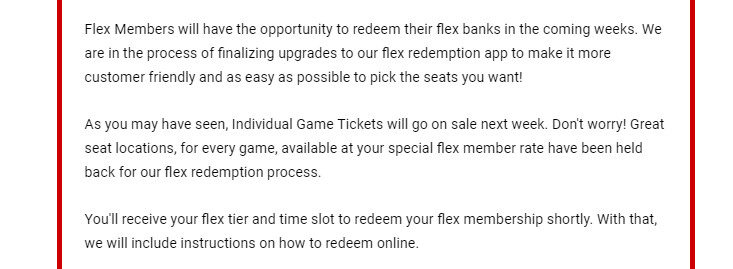 Email sent out to Flex Member Plan owners