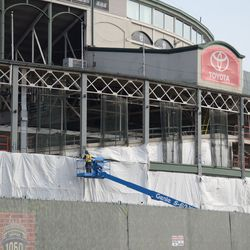 1:11 p.m. The front of the ballpark, along the Clark Street side -