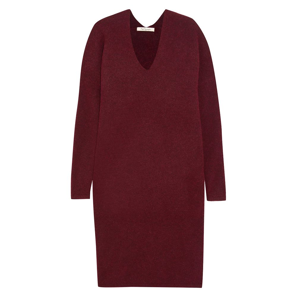burgundy colored sweater dress