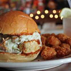 """Buffalo Chicken Meatloaf Sandwich with Tots from Queens Comfort by <a href=""""http://www.flickr.com/photos/bradleyhawks/8685814898/in/pool-eater"""">Amuse * Bouche</a>"""