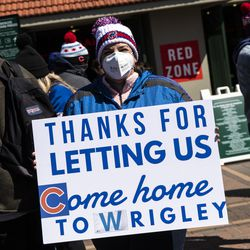 Amy Zeiher, 34, drove to Chicago from New Jersey for the Chicago Cubs Opening Day game at Wrigley Field.
