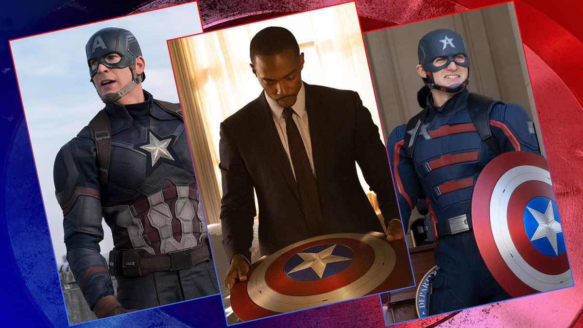 Image featuring three different actors playing Captain America