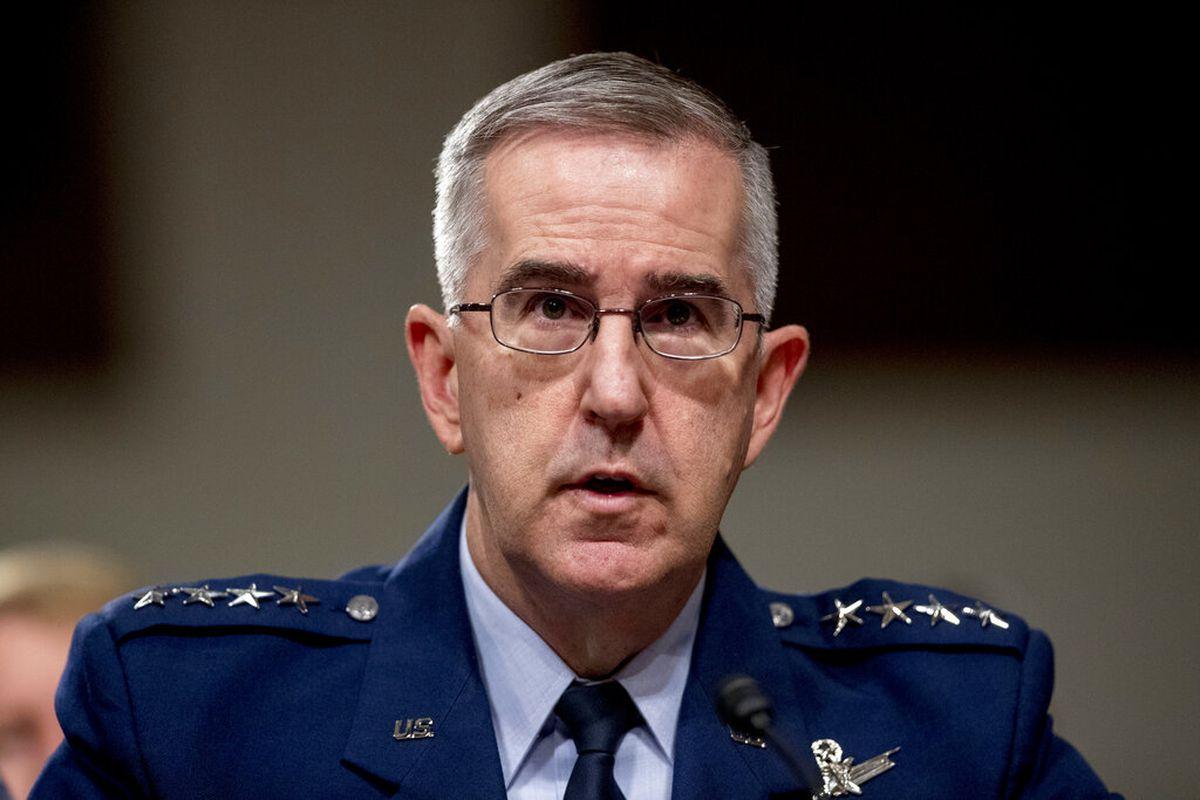 U.S. Strategic Command Commander Gen. John Hyten testifies before a Senate Armed Services Committee hearing on Capitol Hill in Washington
