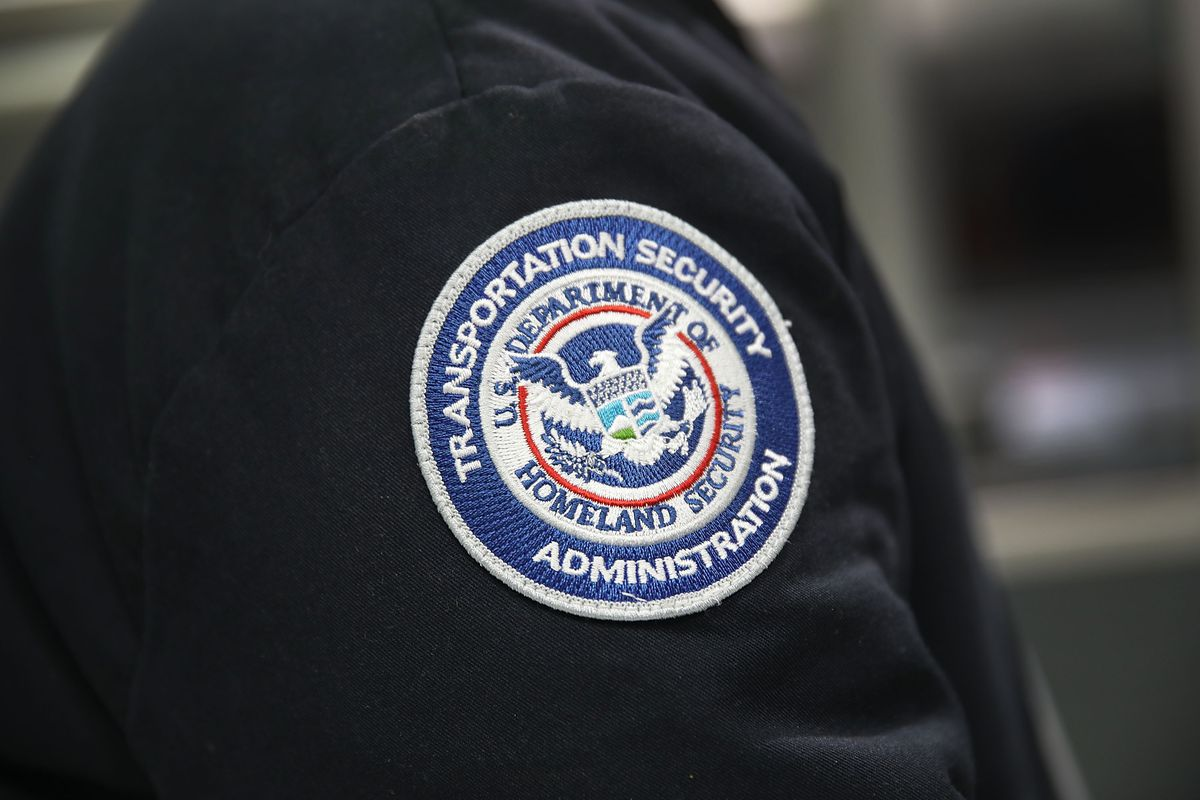 The logo patch of a Transportation Security Administration official.