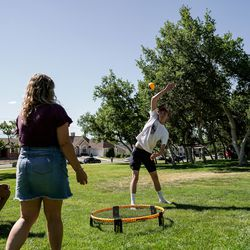 Chez Stout, Anne Lincoln, Justin Williams and Austin Reid play Spikeball at Rock Canyon Park in Provo on Saturday, July 4, 2020.