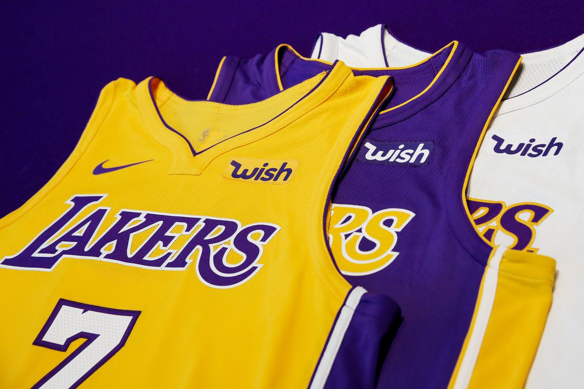 The new Los Angeles Lakers jerseys with sponsorship by Wish J Alexander  Diaz Los Angeles Lakers 34823fa8b24a