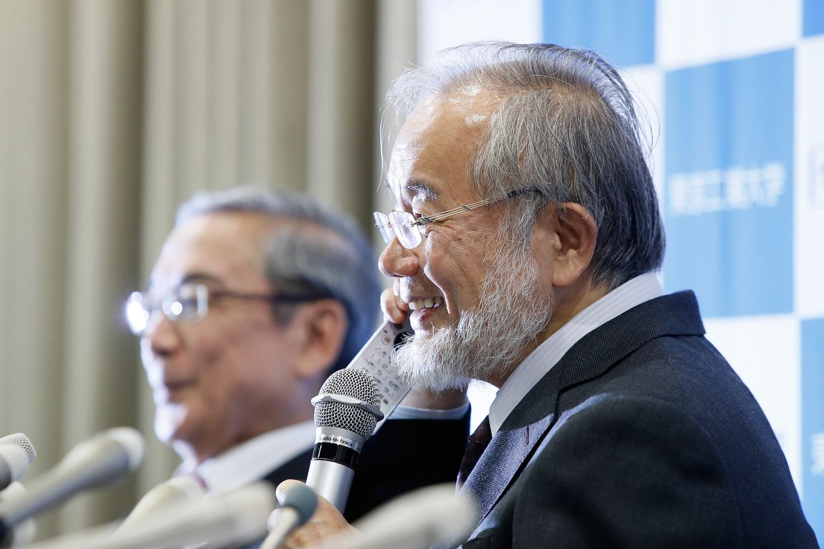 Yoshinori Ohsumi attends press conference at Tokyo Institute of Technology on October 3, 2016 in Tokyo, Japan.