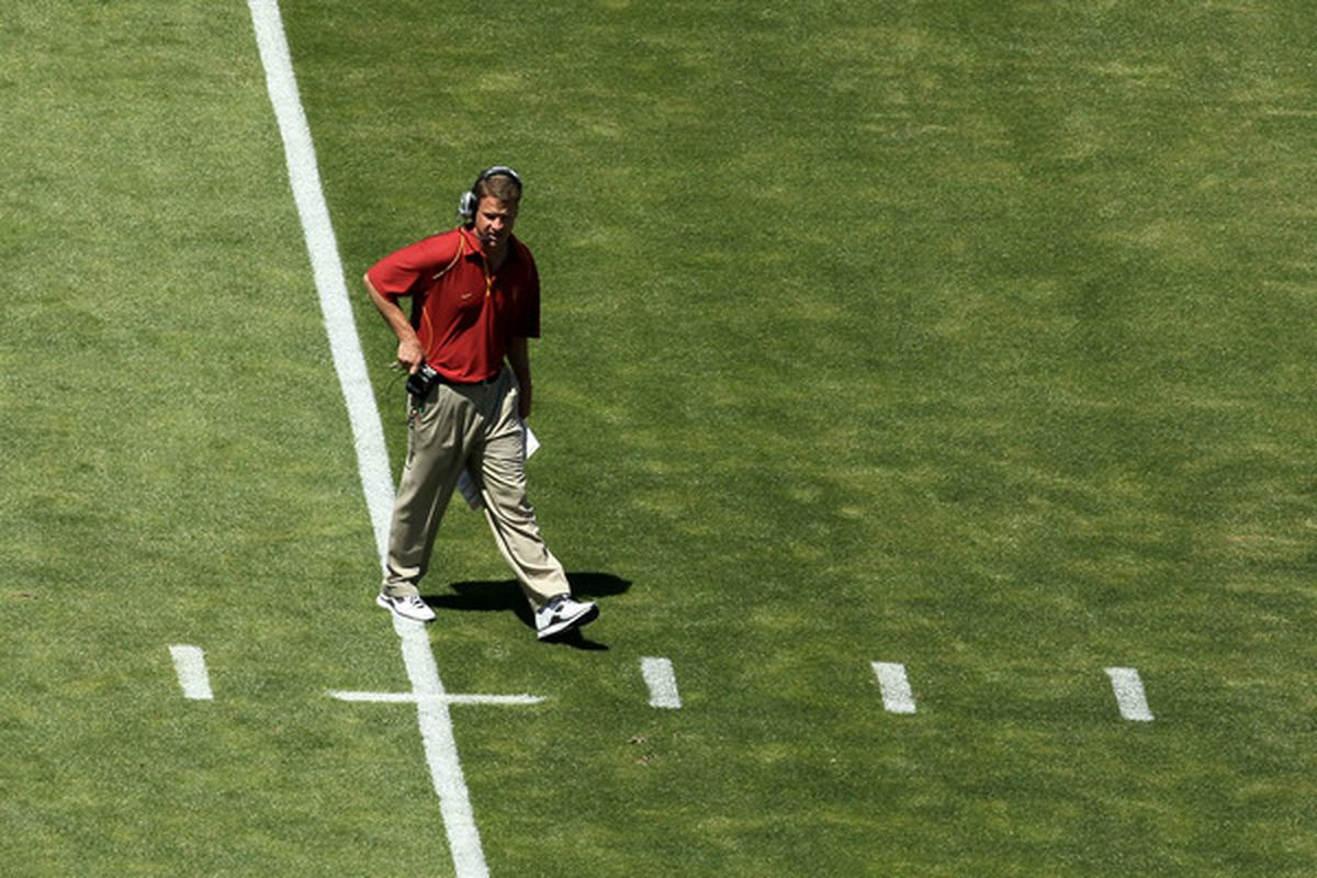 LOS ANGELES, CA - MAY 01:  Head coach Lane Kiffin walks on the field during the  USC Trojans spring game on May 1, 2010 at the Los Angeles Memorial Coliseum in Los Angeles, California.  (Photo by Stephen Dunn/Getty Images)