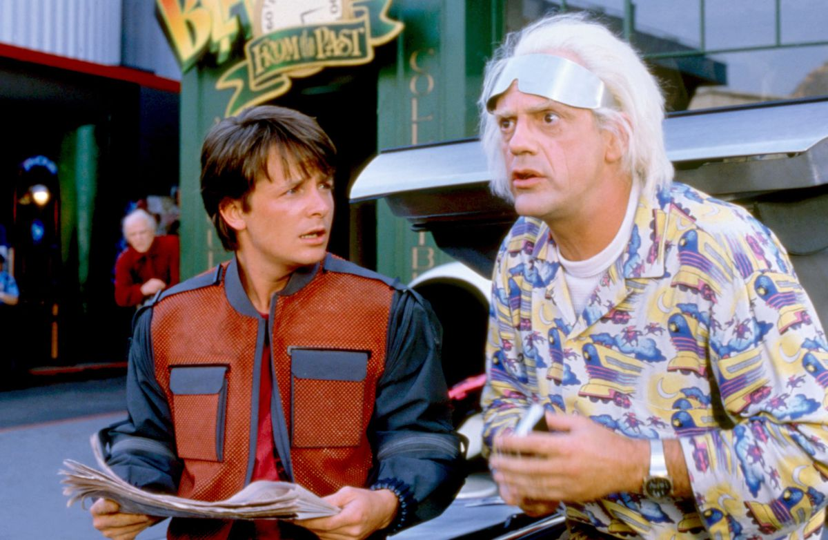 """The sports betting by Marty (Michael J. Fox, left, with Christopher Lloyd) in """"Back to the Future Part II"""" is a cautionary tale for the time travelers of """"Avengers: Endgame.""""   Universal Pictures"""