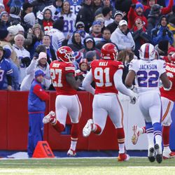 Kansas City Chiefs Sean Smith (27) reaches the end zone for a 100-yard interception return in an NFL football game against the Buffalo Bills in Orchard Park, N.Y. Sunday, Nov. 3, 2013. Kansas City won 23-13.