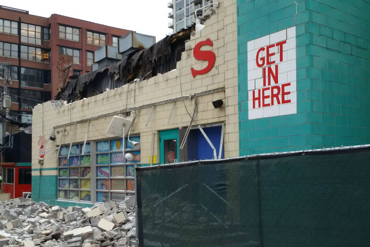 The rubble at the former Ed Debevic's River North site.