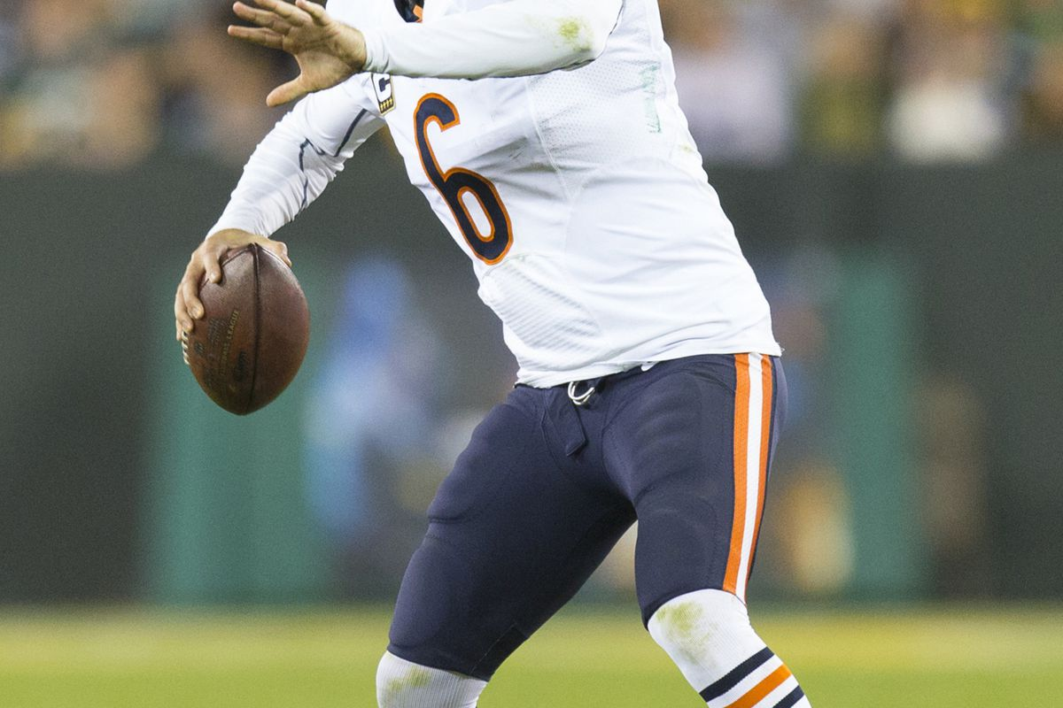 Sep 13, 2012; Green Bay, WI, USA;  Chicago Bears quarterback Jay Cutler (6) throws a pass during the third quarter against the Green Bay Packers at Lambeau Field.  The Packers defeated the Bears 23-10.  Mandatory Credit: Jeff Hanisch-US PRESSWIRE