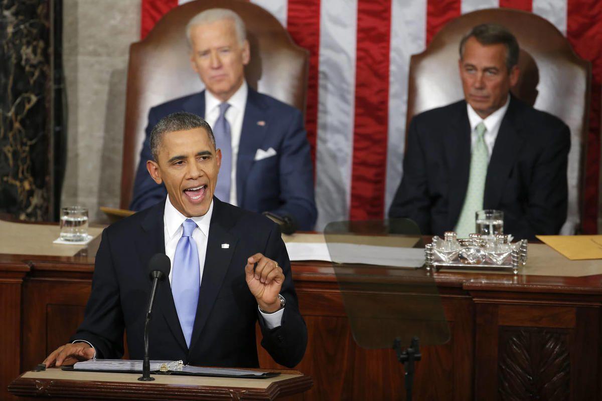 Vice President Joe Biden and House Speaker John Boehner of Ohio listen as President Barack Obama gives his State of the Union address on Capitol Hill in Washington, Tuesday Jan. 28, 2014.