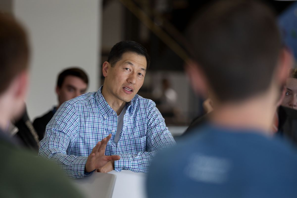 Lucidchart co-founder and CEO Karl Sun speaks to new employees at the company's offices in South Jordan on Friday, May 24, 2019.
