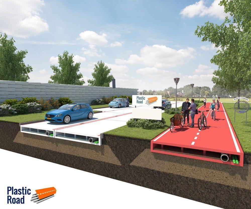 Rendering of plastic road