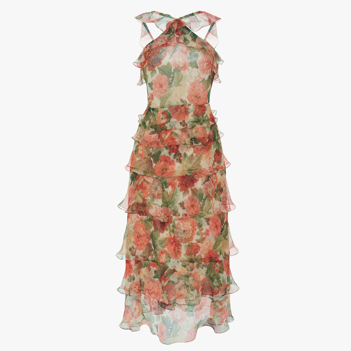 A floral printed tiered dress