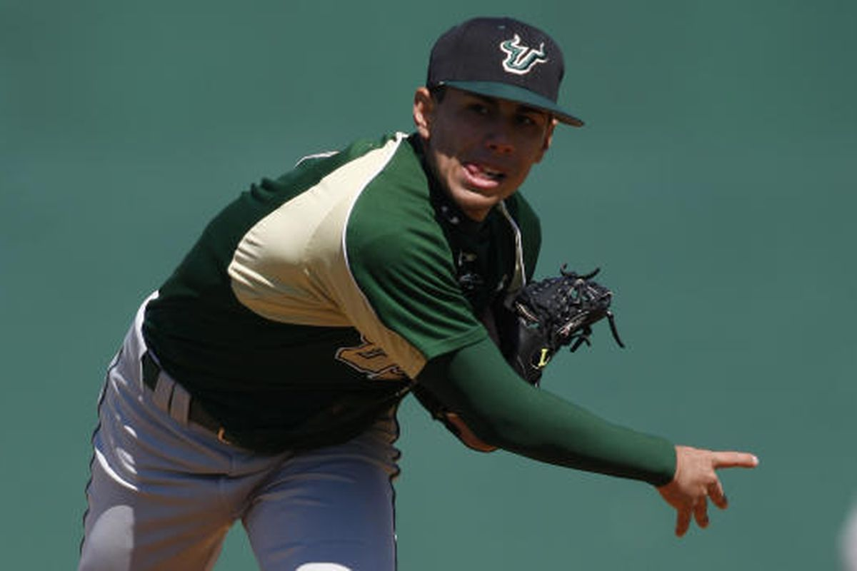 Randy Fontanez and the USF Bulls fell to the Pitt Panthers 6-5 tonight in a pivotal three game set in Tampa. Credit GoUSFBulls.com for picture