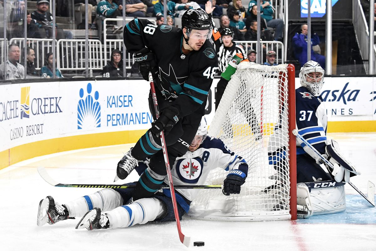 Tomas Hertl #48 of the San Jose Sharks skates with the puck behind the net against the Winnipeg Jets at SAP Center on November 1, 2019 in San Jose, California.