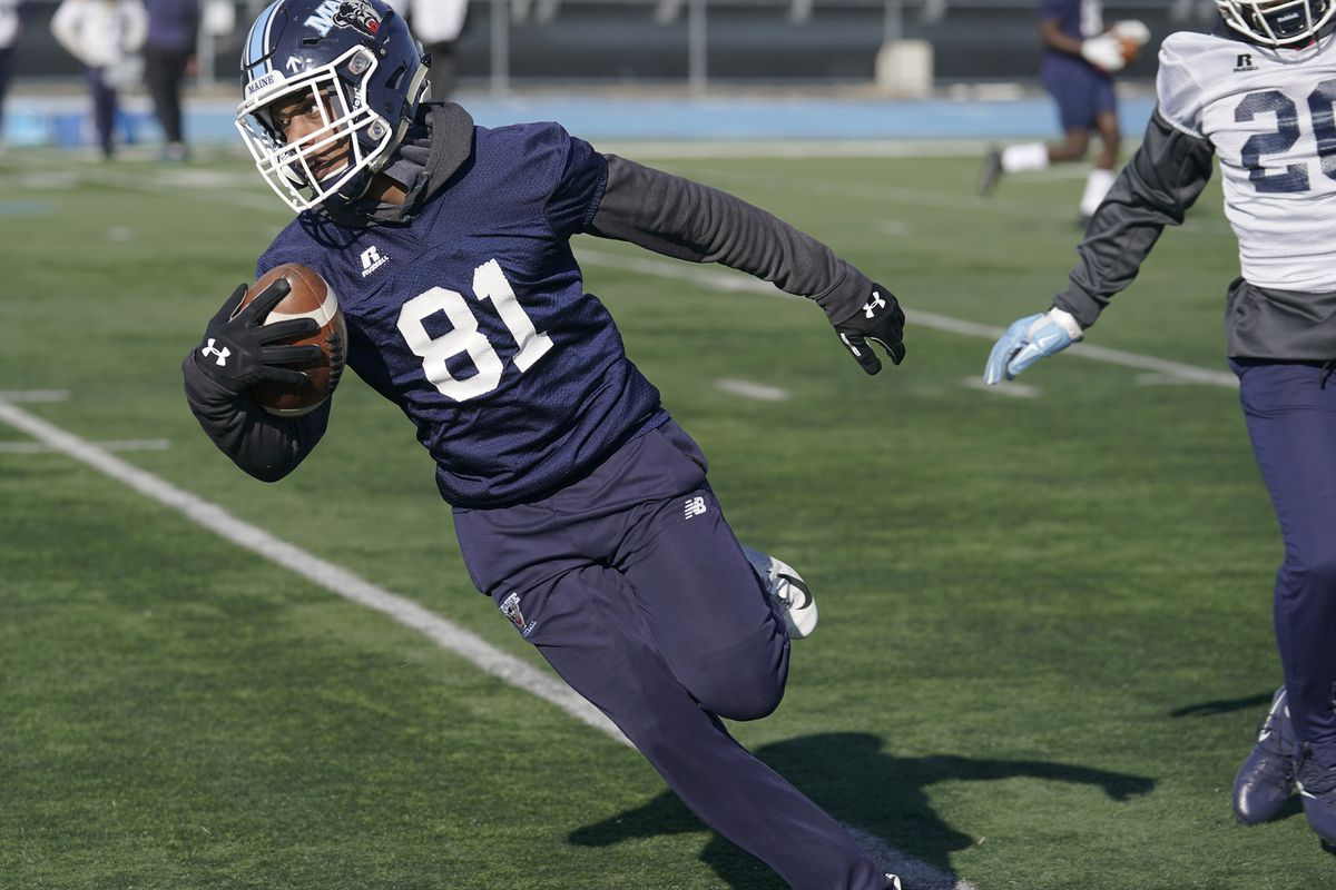 First day of spring practice for University of Maine football team