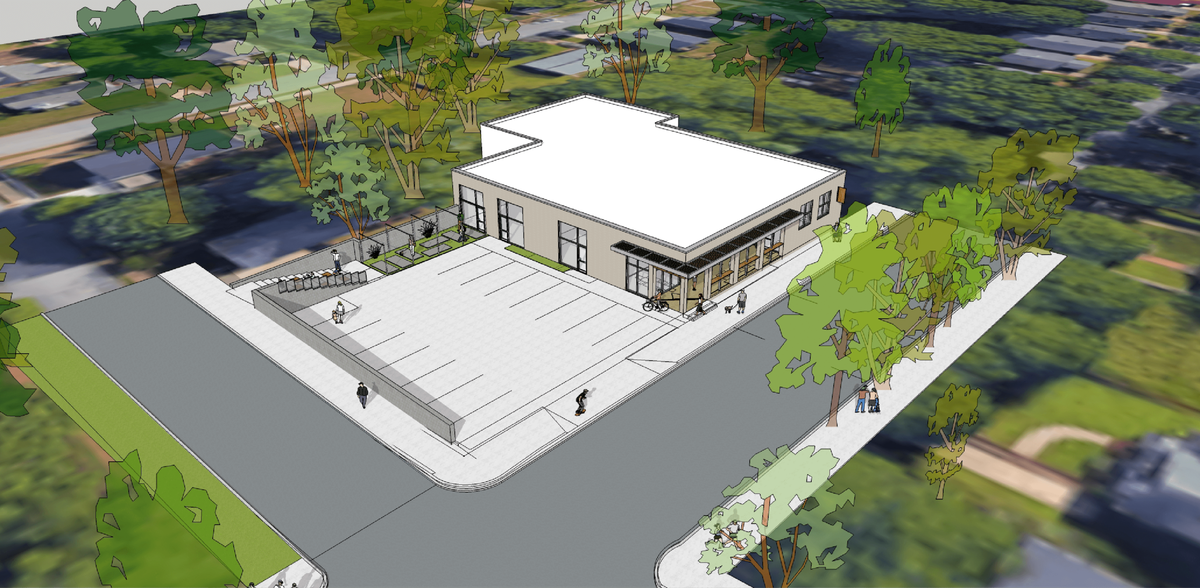 An overhead rendering of the project.