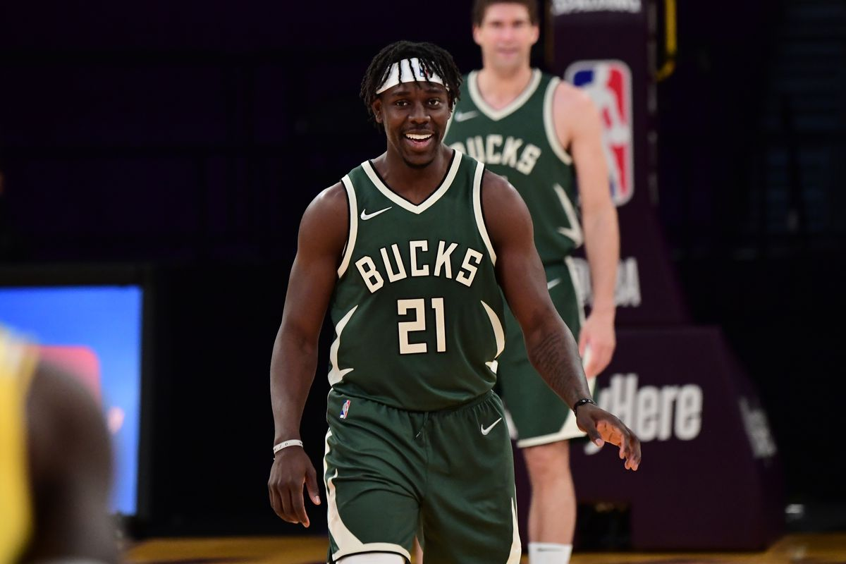Jrue Holiday of the Milwaukee Bucks smiles during the game against the Los Angeles Lakers on March 31, 2021 at STAPLES Center in Los Angeles, California.