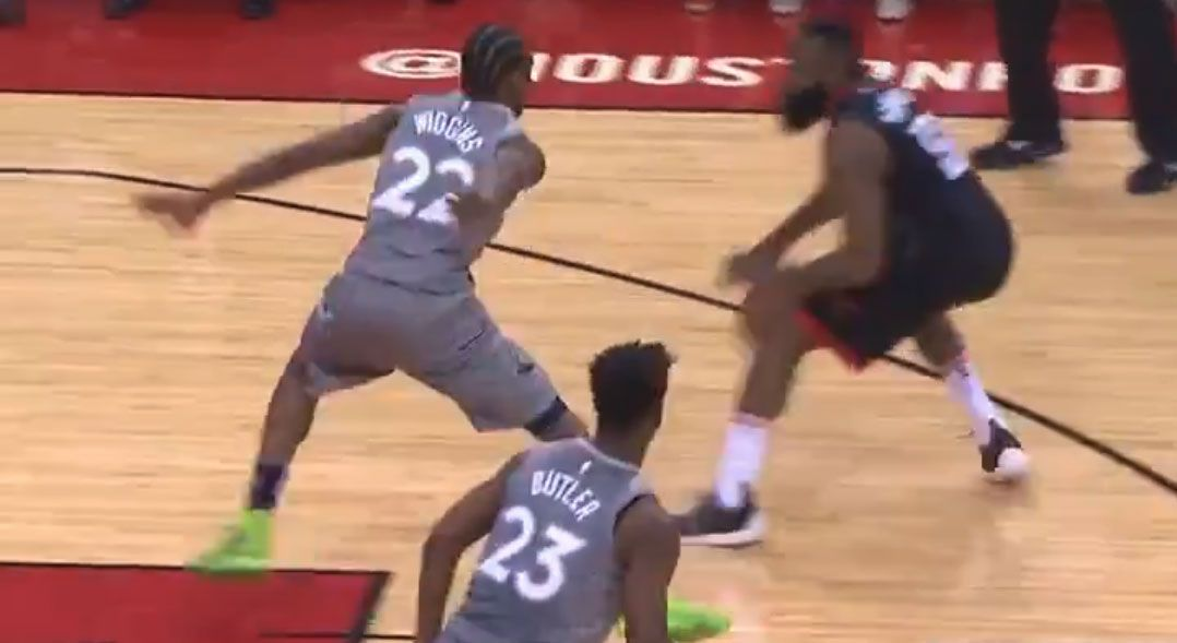 A screenshot of Harden holding the ball inside the 3-point line