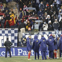 Real players acknowledge their fans after losing to Sporting KC Saturday, Dec. 7, 2013 in MLS Cup action.