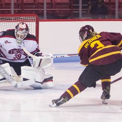 Concordia Stingers Forward Marie-Pascale Bernier scores against Northeastern during a game on September 23rd, 2017