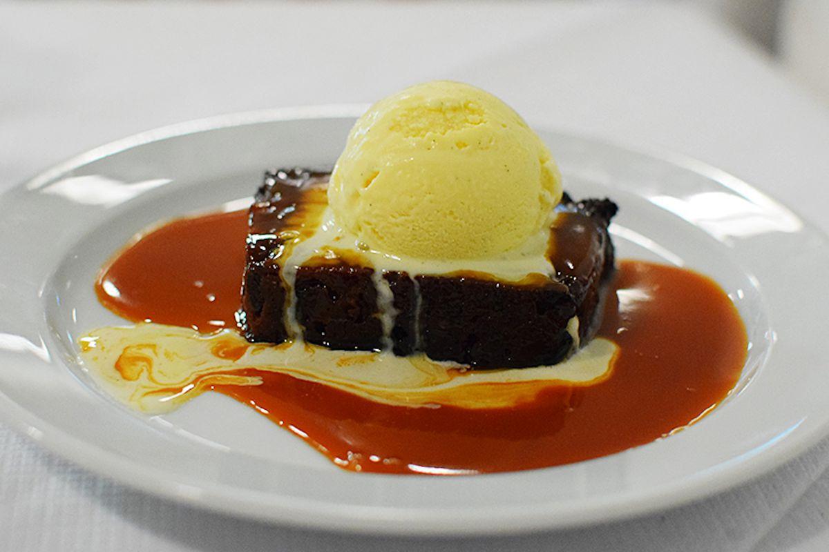 Bread pudding and vanilla ice cream at St John restaurant in London