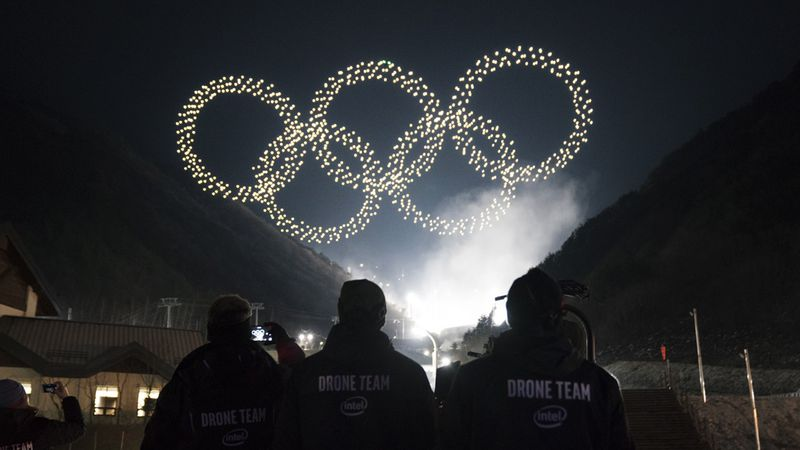 Intel's light show featured a record-breaking 1,218 drones shaped in the Olympic rings.