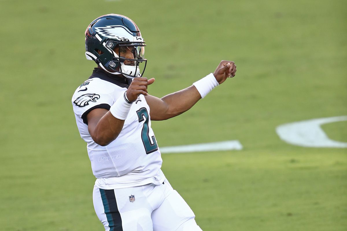 Jalen Hurts #2 of the Philadelphia Eagles warms up prior to the game against the San Francisco 49ers at Levi's Stadium on October 04, 2020 in Santa Clara, California.